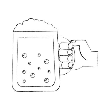 hand holding beer glass drink celebration vector illustration hand drawing