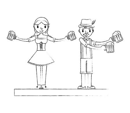 Hombre y mujer bávaros con vasos de cerveza oktoberfest celebración ilustración vectorial dibujo a mano