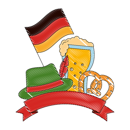 oktoberfest beer pretzel hat and flag germany emblem vector illustration