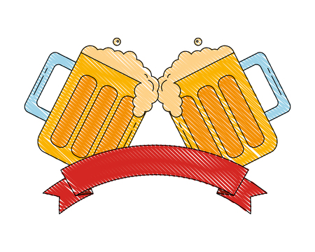 due bicchieri di birra bere celebrazione emblema illustrazione vettoriale Vettoriali