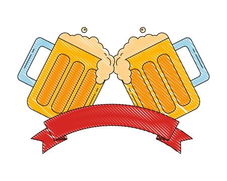 two beer glasses drink celebration emblem vector illustration