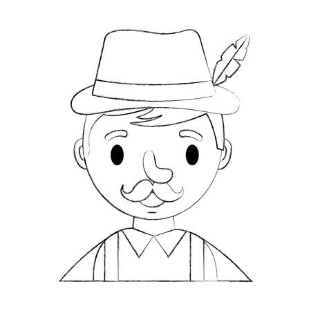 bavarian man cartoon portrait character vector illustration hand drawing