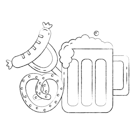 oktoberfest beer glass sausage and pretzel food vector illustration hand drawing
