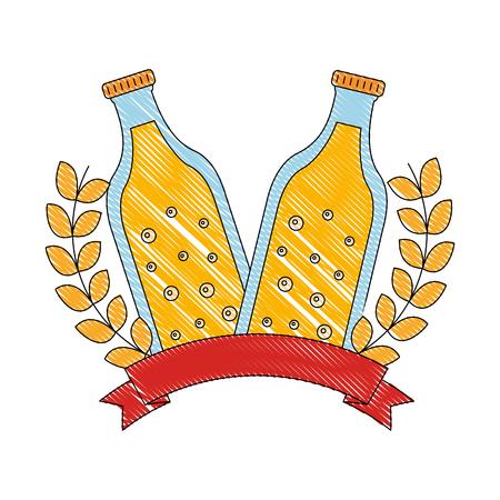 two bottle beers drink emblem banner vector illustration