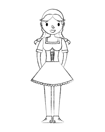 beautiful bavarian woman in traditional dress vector illustration hand drawing