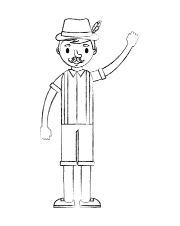 bavarian man in traditional costume vector illustration hand drawing