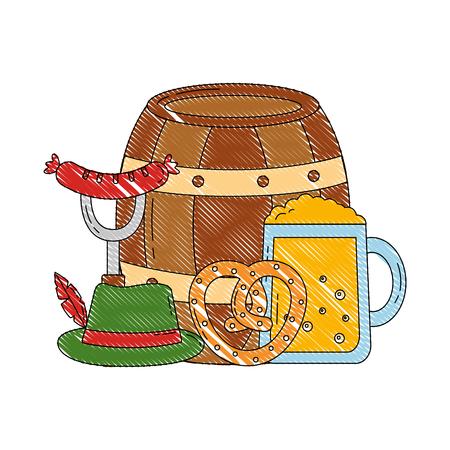 oktoberfest barrel beer pretzel sausage and hat traditional vector illustration