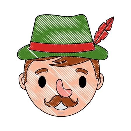 bavarian man cartoon portrait character vector illustration