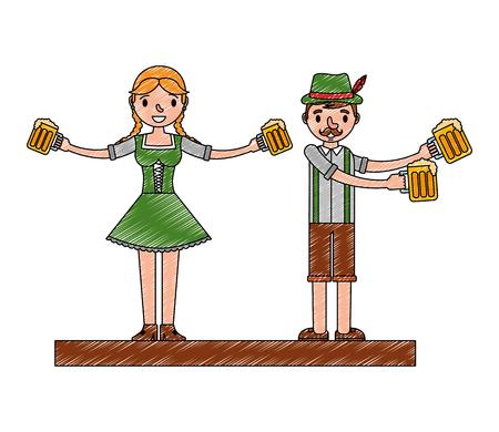 Hombre y mujer bávaros con vasos de cerveza oktoberfest celebración ilustración vectorial