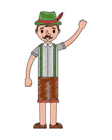 bavarian man in traditional costume vector illustration