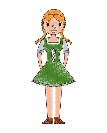 beautiful bavarian woman in traditional dress vector illustration Imagens - 108558691
