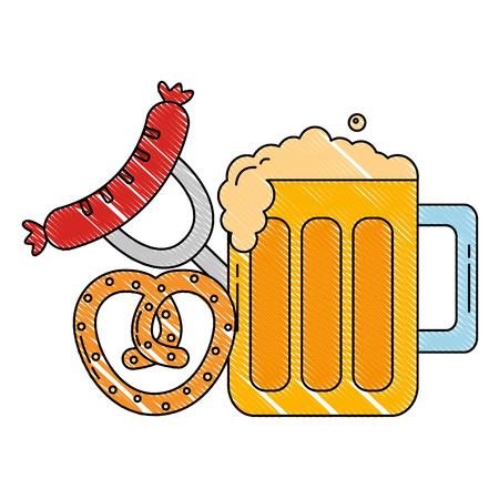 oktoberfest beer glass sausage and pretzel food vector illustration