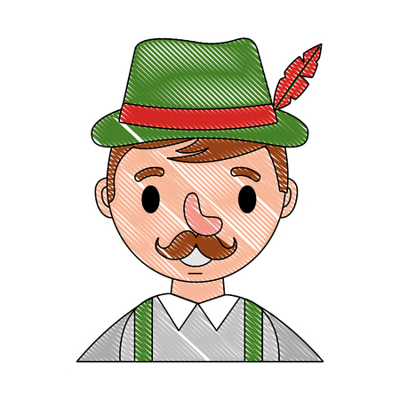 bavarian man cartoon portrait character vector illustration Imagens - 109824087
