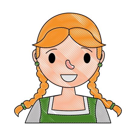 portrait bavarian woman character cartoon vector illustration