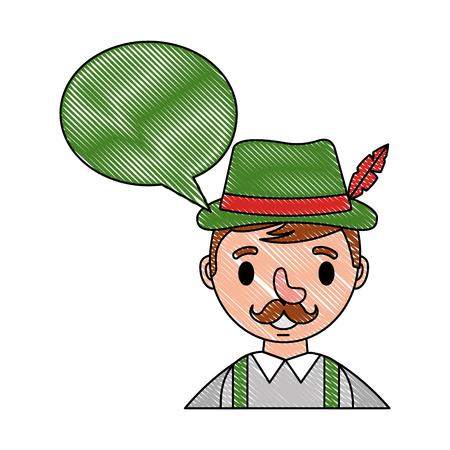 portrait bavarian man speech bubble vector illustration 일러스트