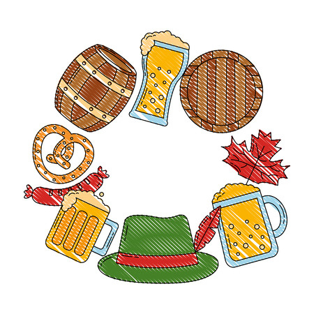 oktoberfest beer barrel leaves hat pretzel label vector illustration