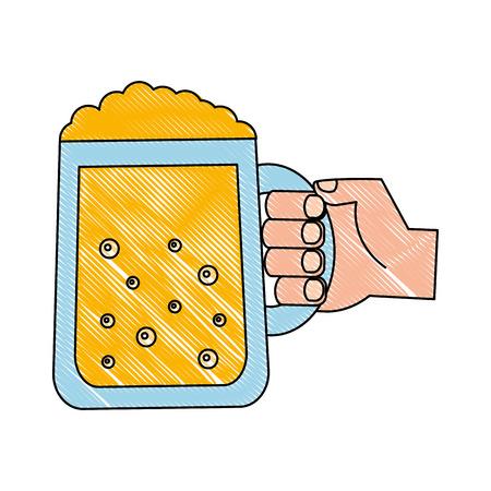 hand holding beer glass drink celebration vector illustration