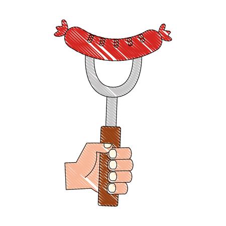 hand holding sausage on fork food vector illustration