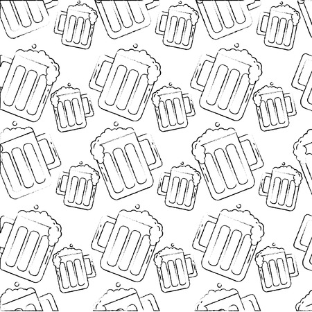beers glass drink foam cold pattern vector illustration hand drawing