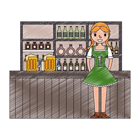 bavarian woman in the bar drinks bottles vector illustration Banque d'images - 109824096