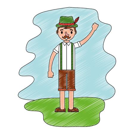 bavarian man in traditional costume vector illustration