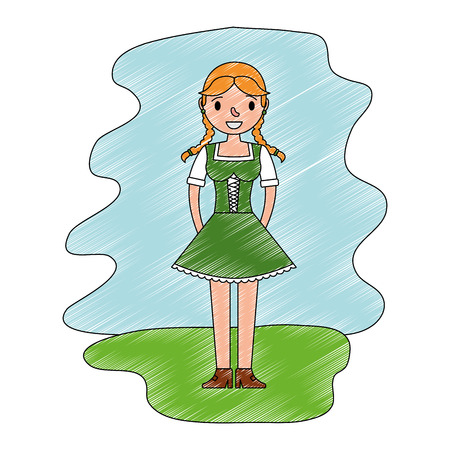 beautiful bavarian woman in traditional dress vector illustration Illustration