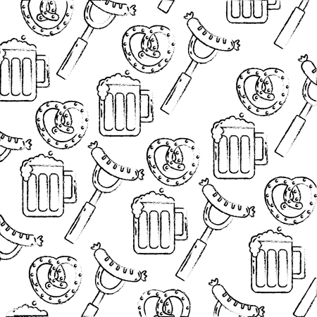oktoberfest food drink celebration pattern vector illustration hand drawing
