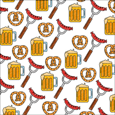 oktoberfest food drink celebration pattern vector illustration