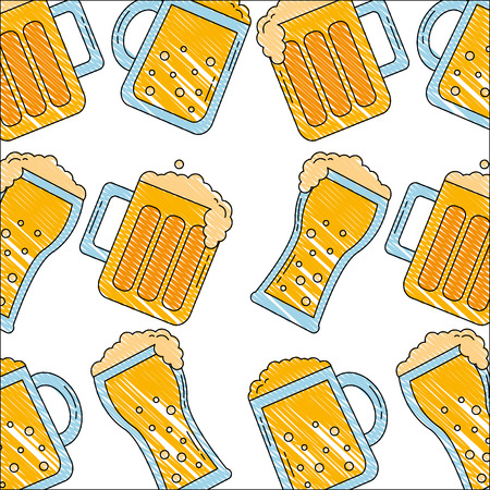 beer glasses bar drink alcohol pattern vector illustration