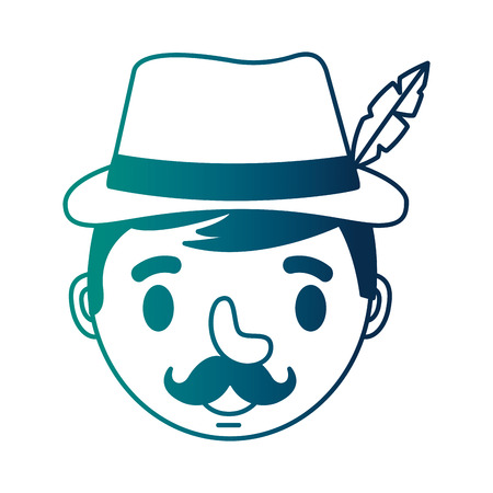 head german man with typical hat vector illustration design