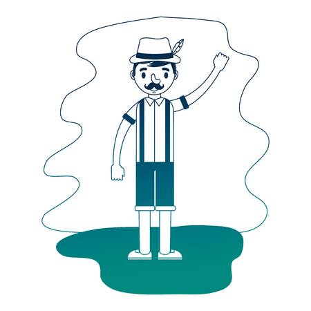german man with typical costume on field vector illustration design