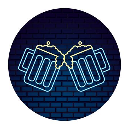 two beer glasses drink celebration emblem vector illustration neon brick wall