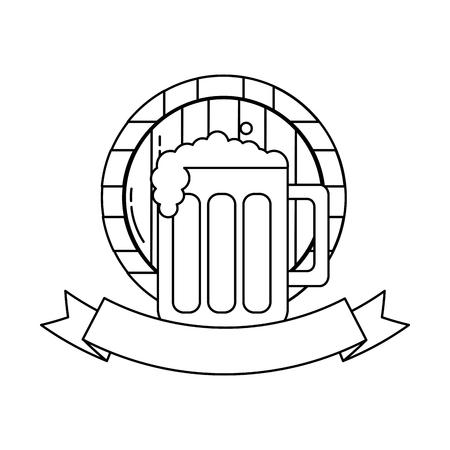 beer glass barrel beverage alcohol emblem vector illustration outline