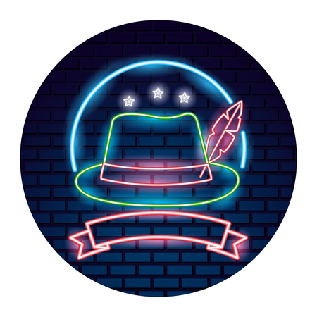 bavarian hat with feather ribbon emblem vector illustration neon brick wall Иллюстрация