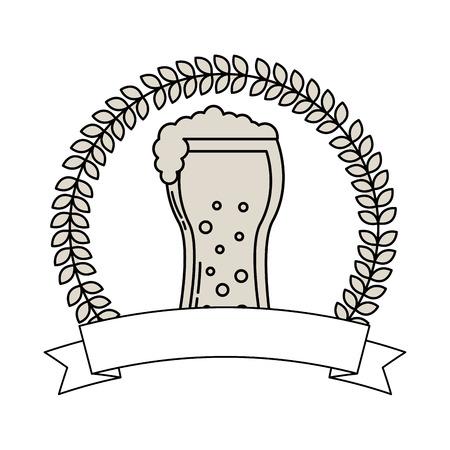 beer glass drink celebration emblem vector illustration outline Illustration