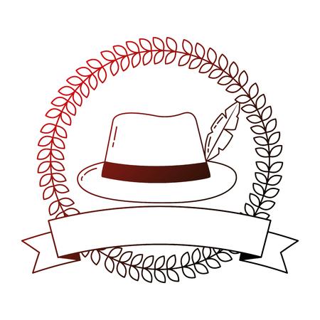 bavarian hat with feather ribbon emblem vector illustration neon Illustration
