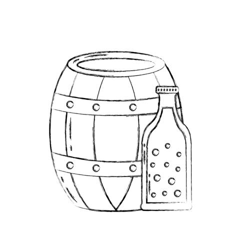beer barrel and bottle drink beverage vector illustration hand drawing Stok Fotoğraf - 109824137