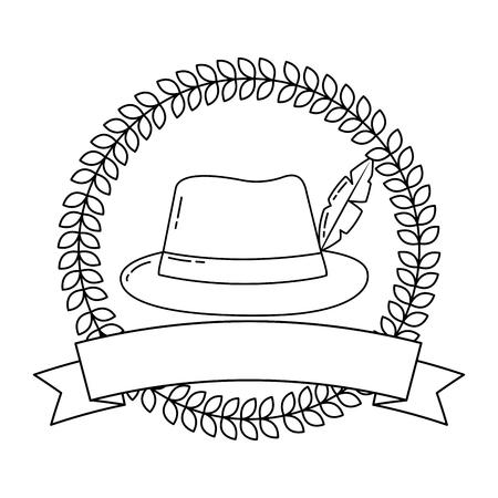 bavarian hat with feather ribbon emblem vector illustration  outline
