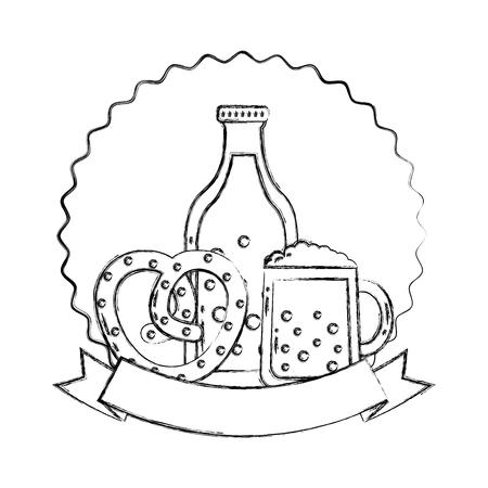 beer bottle glass and pretzel oktoberfest emblem vector illustration hand drawing