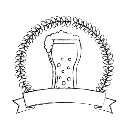 beer glass drink celebration emblem vector illustration hand drawing