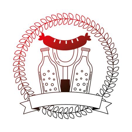 beer bottles and sausage with fork emblem oktoberfest vector illustration neon