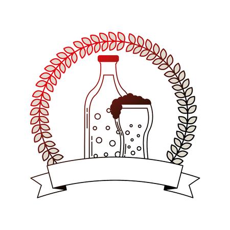 beer botlle and glass drink emblem vector illustration neon