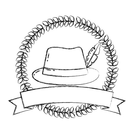 bavarian hat with feather ribbon emblem vector illustration  hand drawing