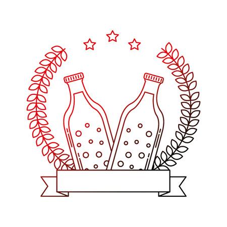 two beer bottle drink emblem vector illustration neon