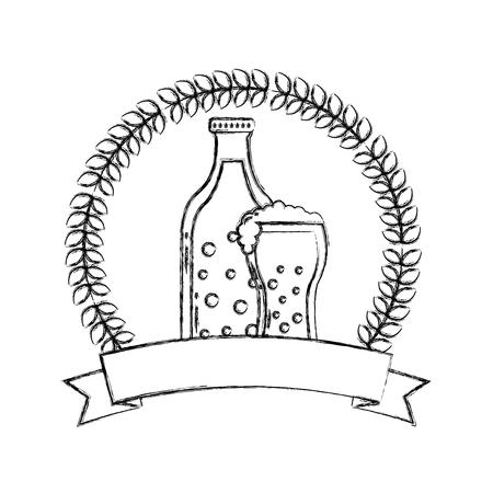 beer botlle and glass drink emblem vector illustration hand drawing