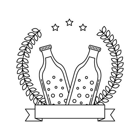 two beer bottle drink emblem vector illustration outline