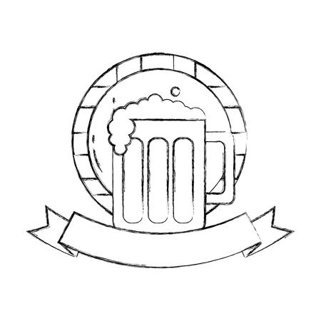 beer glass barrel beverage alcohol emblem vector illustration hand drawing