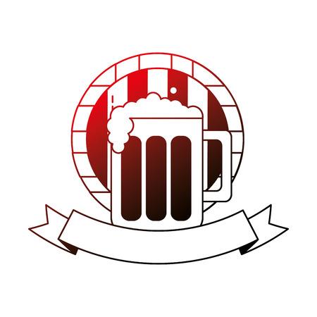 beer glass barrel beverage alcohol emblem vector illustration neon