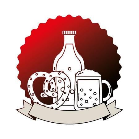 beer bottle glass and pretzel oktoberfest emblem vector illustration neon