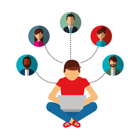 man using laptop connection group people vector illustration